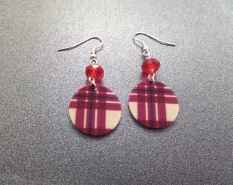 Scottish Tartan Earrings, Red Plaid Earrings, Light Plastic Earrings, MacGregor Tartan, Highland Dance Jewelry, Scottish Jewelry