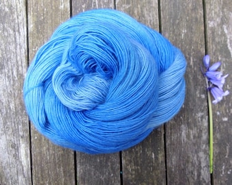 Blue Hand Dyed Sock Yarn, Singles Sock Yarn, light fingering weight yarn, Falkland Merino yarn, 100g