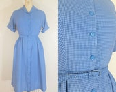 1940s Day Dress // CHECK PLEASE DRESS // Blue Checkered // Vintage 1940s Cotton Dress // Small