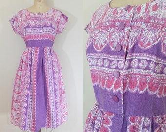 1950s Purple Cotton Day Dress • EGYPTIAN DRESS • Vintage 50s Novelty Print Dress • Medium