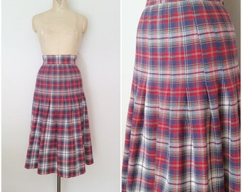 Vintage 1950s Red Plaid Skirt • Cotton Pleated Skirt • XS