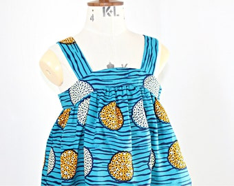 Sundress in a vibrant blue and yellow African Print
