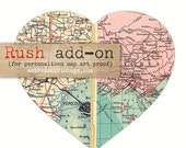 Rush order Add-On, 1 Business Day Proof for Personalized Map Art