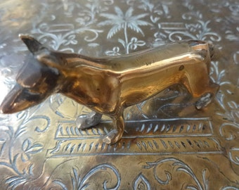 Vintage English dog figure figurine statue brass circa 1950's / English Shop