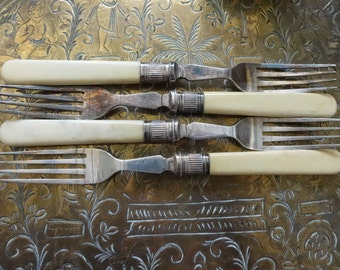 Vintage English silver plated dinner pudding breakfast luncheon table serving fork cutlery circa 1920's / English Shop