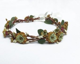 Olive Green Flower Crown, Green Rose Flower Crown, Rustic, Moss Green, Woodland Wedding, Bridal Flower Crown, Bridal, Fairy, Fae, Faerie