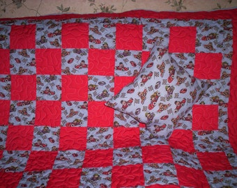 Racing Puppies' Naptime Crib Quilt & Pillow.