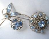 Vintage Czech Blue Rhinestone Brooch Flowers 1950's