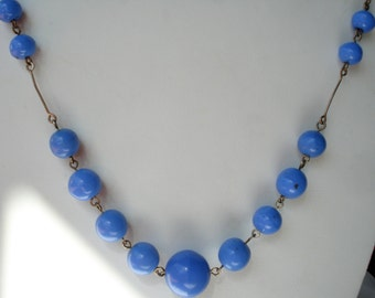 Art Deco Necklace Blue Glass Beads Chain Linked 20's 30's