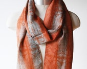 hand printed silk scarf, screen printed scarf, copper rust