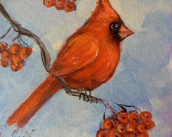 """Red cardinal bird no.6 painting original art 6 x 6"""""""