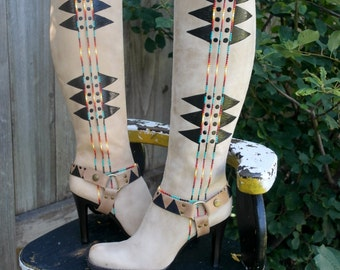 size 9.5 M Hand Painted Boots  By  Rez Hoofz    ready to ship  Please Read full discription below