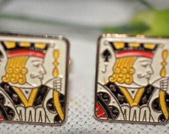 Cufflinks, Man Gift, Vintage Enamel Joker Playing Card Cufflinks, Mens Gift, Father Day