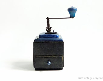 Vintage Coffee Grinder Wooden Mill Grinder Black Blue 60s