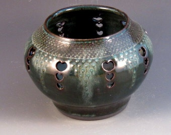 Stoneware Vase With Cutout Hearts, Slip Work, Luscious Green Glaze, Texturing, Ready To Ship
