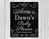 Baby shower welcome sign, Baby Shower Chalkboard sign, printable party hashtag banner, baby shower printable, social media hashtag sign