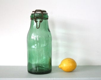 CLEARANCE REDUCTION - Vintage French L'Idéale Preserve Bottle in Green Glass with Porcelain Lid
