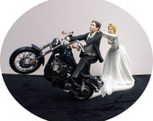 Motorcycle Wedding Cake Topper W/ Blue  Black tire Harley Davidson Funny Groom Top
