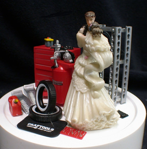 car auto mechanic wedding cake topper groom tool box