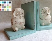 Owl Decor: Owl Figurines Set of Bookends Available in a Variety of Colors