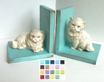 Cat Figurines Set of Bookends//Available in a Variety of Colors//Gifts for Her//Birthday Gift//Kitten Book Ends//Farmhouse//Shabby Chic