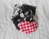 You Have My Heart Nail Accessory- Introductory Price - Set of 5 Black and White and 1 Red Heart Nail Bag -5 (2x2) Rice Bags for Nail Shields