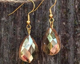 Gorgeous peach czech glass drop dangle earrings