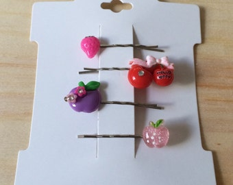 Kawaii apple, cherry, and strawberry hair pins