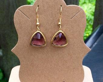 Gorgeous purple bezel set faceted glass dangle earrings