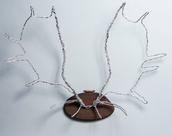 Mounted Wire Moose Antlers