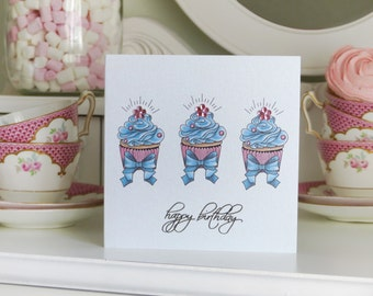 Tattoo Style Triple Delight Cupcake Birthday Card
