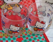 Vintage Hello Kitty Set of 2 Glasses. 1990 Sanrio Co. Ltd. Never Used. With Paper Tag. For Juice or Water