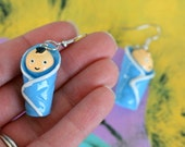 Vintage BABY Earrings...boy. dangly. cute. kitschy. vintage charms. baby. weird. creepy. charm earrings. retro. kitsch jewelry. baby charms
