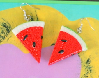 BIG WATERMELON EARRINGS...kitsch. retro. fruit. earrings. beads. watermelon slice. jewelry. melon. kitschy charms. big charms. large. fun
