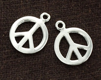 4 of 925 Sterling Silver Peace Sign Charms 12 mm. :th1530