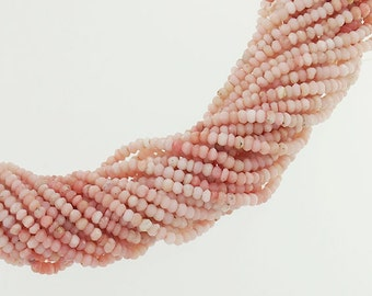 """130 Pink Opal Faceted Rondelle Beads 3 - 3.5 mm. 13"""" :gs8148"""