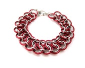Chainmail Bracelet - Red Garter Belt - Chainmaille Jewelry - Chainmaille Bracelet - Handcrafted Jewelry - Chain mail Bracelet