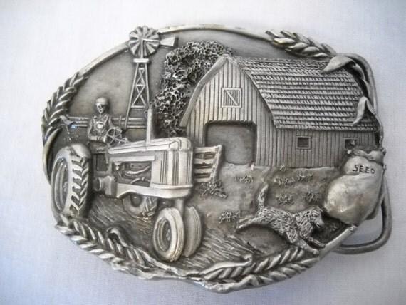 Farm Machinery Belts : Vintage farm tractor belt buckle by bergamot brass works