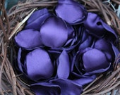 Beautiful satin rose petals in purple, you choose quantity, handmade wedding rose petals, custom colors