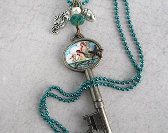 Mermaid Key Necklace - Mermaid Necklace - Key Necklace - Once Upon A Time - Mermaid Art Key Necklace - Collage Key Necklace -