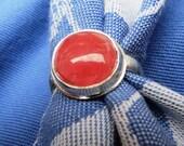 Rosy Pink Round Rhodochrosite in Argentium Silver Ring Size 7