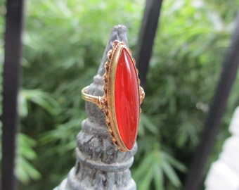 Antique 14 KT Solid Gold Carnelian long ring 6 1/4