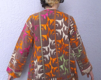 60's Vintage Embroidered Hippie Coat India Imports