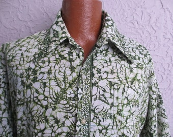 60s Vintage Men's Bali Batik Shirt XL large