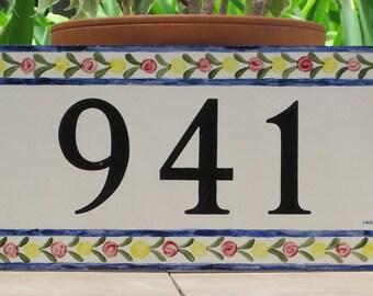Tile House Number Address Plaque House Number Floral Border