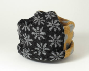 Ski Hat Beanie, Black, Gold and Gray, Knit and Felted Merino Wool, Adult Size