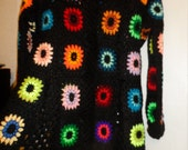 Crochet  granny square puff stitch flowers multicolour kaleidoscope 1960-s hippie bohemian coat jacket cardigan OOAK