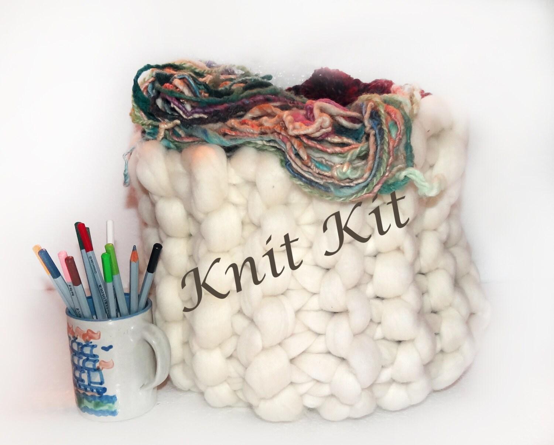 Knitting Chunky Yarn On Small Needles : Knit kit super chunky yarn giant needles craft by