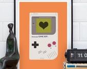 Video game poster, play room art, baby boy room, gameboy print, video game art, gaming art, retro print, geekery poster, orange print