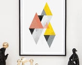 Geometric abstract, Watercolor art, Modern art, Abstract print, Scandinavian print, Yello and pink, mid century art, Triangle poster, home
